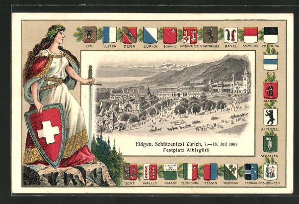 AK Zürich, Eidgen. Schützenfest 1907, Blick auf den Festplatz Albisgütli, Wappen