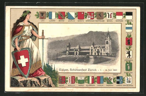 AK Zürich, Eidgen. Schützenfest 1907, Ortspartie, Wappen