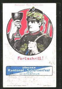 AK Winterthur, Züricher Kantonal-Schützenfest 1902, Schütze mit Weinglas