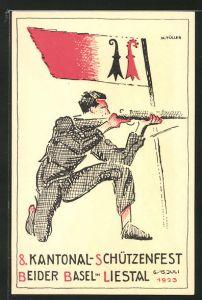 AK Liestal, 8. Kantonal-Schützenfest Beider Basel 1923, Knieender Mann legt Gewehr an