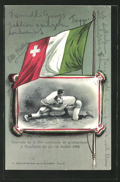AK Neuchatel, Kantonales Turnfest 1902, Männer beim Ringkampf