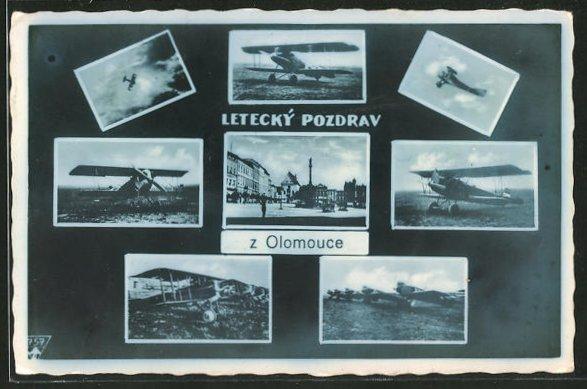 AK Olomouce, Ein- und Doppeldecker in der Luft und auf dem Flugfeld