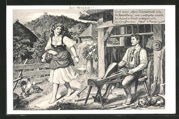 AK Tischler arbeitet im Freien vor der Werkstatt und erblickt einer junge Frau