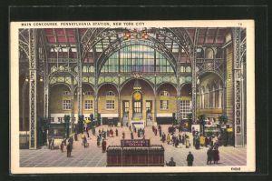 AK New York, NY, Pennsylvania Station, Main Concourse, Bahnhof