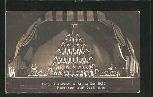 AK St. Gallen, Eidg. Turnfest 1922, Matrosen auf Deck