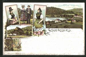 Lithographie Titisee, Paar und Frauen in Schwarzwälder Tracht & Schwarzwälder Bauernhaus