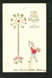 Präge-AK Zwerg zielt mit Pfeil und Bogen auf eine Glückszielscheibe mit Herz