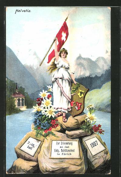 AK Zürich, Eidgen. Schützenfest 1907, Helvetia mit Fahne