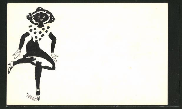Künstler-AK Handgemalt: Dame mit Hut im Tanzschritt