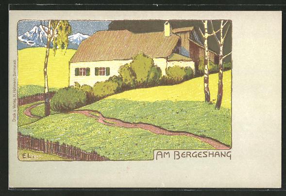 Künstler-AK Ernst Liebermann: Haus am Bergeshang