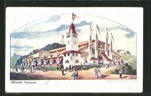 Lithographie St. Gallen, Eidg. Schützenfest 1904, Festhalle