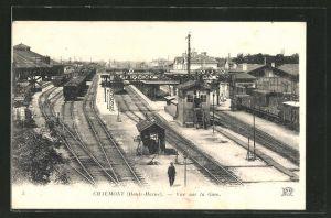 AK Chaumont, Vue sur la Gare, Bahnhof