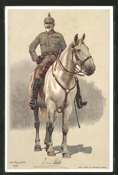Künstler-AK König von Württemberg in Uniform zu Pferd