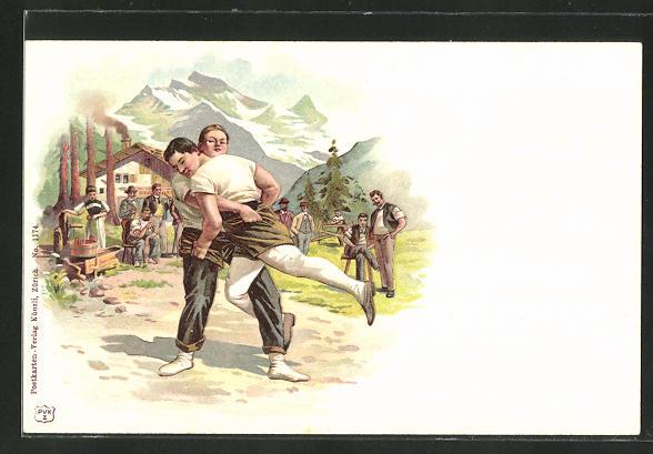 AK Schweizer Ringer in den Alpen