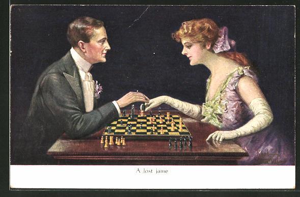 Künstler-AK Ruab Gnischaf: A lost game, Paar spielt Schach