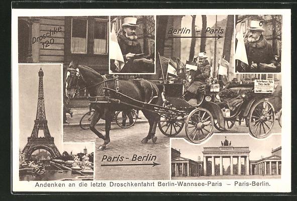 AK Berlin, Letzte Droschkenfahrt Berlin-Paris-Berlin, Eiserner Gustav