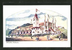 Lithographie St. Gallen, Eidgenössisches Schützenfest 1904, Festgelände