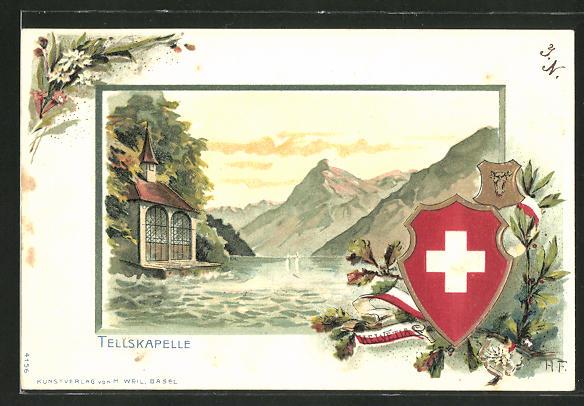 Passepartout-Lithographie Tellskapelle, Panorama mit Wappenschild Helvetia