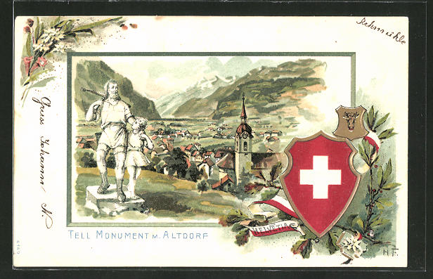 Passepartout-Lithographie Altdorf, Panorama mit Tell Monument, Wappenschild