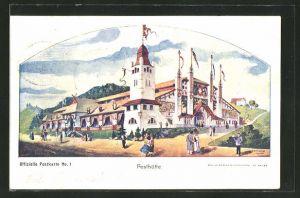 Lithographie St. Gallen, Eidegnössisches Schützenfest 1904, Festgebäude