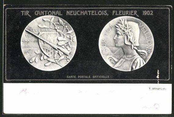 Ak Fleurier Tir Cantonal Neuchatelois 1902 Münzen Mit Prägung Sur