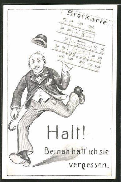 Künstler-AK Willi Scheuermann: Mann mit Stock und Hut hält ein Brotkarte