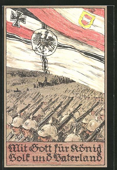 Künstler-AK Bruno Heroux: Soldaten auf dem Schlachtfeld, Zweibund, Reichsfahne