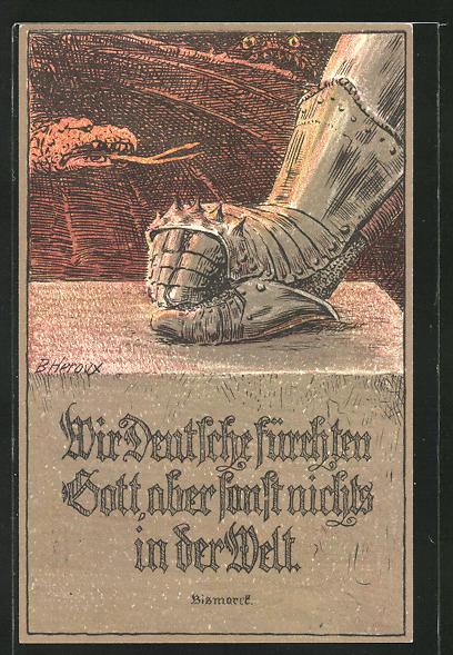 Künstler-AK Bruno Heroux: Eiserner Handschuh mit Spruch von Bismarck