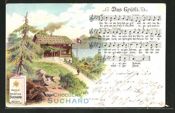 Lithographie Schweizer Berghütte, Lied