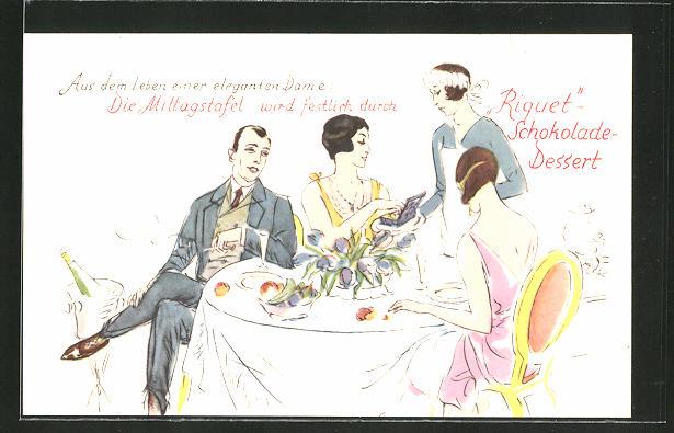 AK Gesellschaft an der Mittagstafel, Mädchen serviert