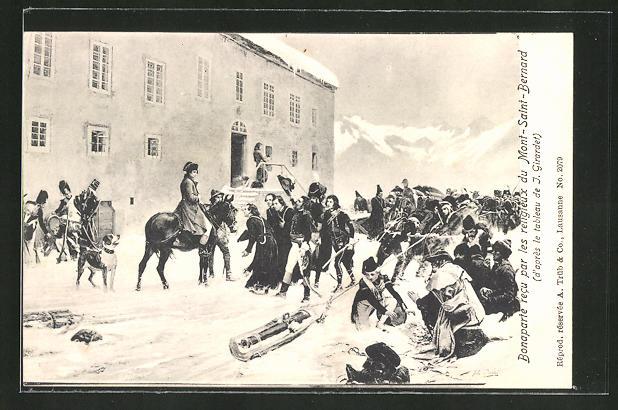AK Napoleon recu par les religieux du Mont-Saint-Bernard