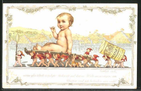 AK Kleinkind wird von Zwergen auf einem Tablett getragen, Reklame für Nestlé's Kindermehl