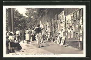 AK London, Artists show their pictures in the open-air at Hampstead, Strassengalerie