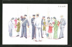 Künstler-AK Strassenszene mit Japanern und Männern mit Megaphon mit Sammelbox