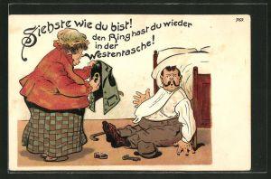 Künstler-AK Bruno Bürger & Ottillie Nr. 7169: Ehefrau empfängt ihren Mann nach seiner Zechtour