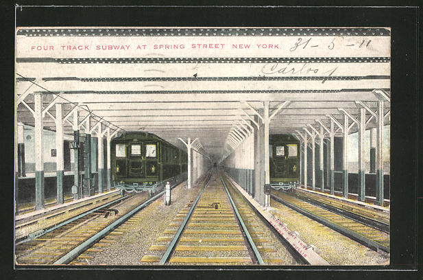 AK New York, Four Track Subway at Spring Street