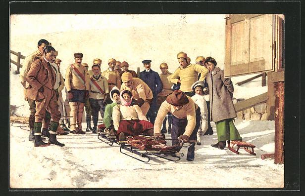 AK Frauen auf einem Schlitten bereit für die Abfahrt