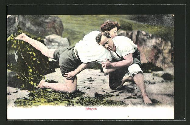 AK Männer beim Ringkampf