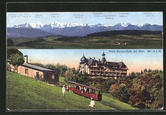 AK Bern, Bergbahn am Hotel Gurten-Kulm
