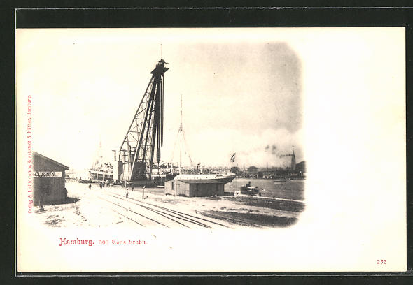 AK Hamburg, Der 500 Tonnen-Kran am Hafen