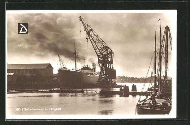 AK Kiel, 1950 Tonnen Schwimmkran in Tätigkeit