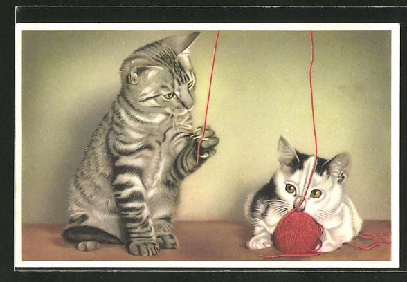 AK Zwei Katzen spielen mit Wollknäuel