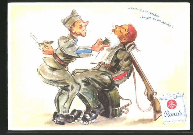 AK Reklame für Ronde schweizer Tabak, Soldat mit Zigarette pinselt Bart ein