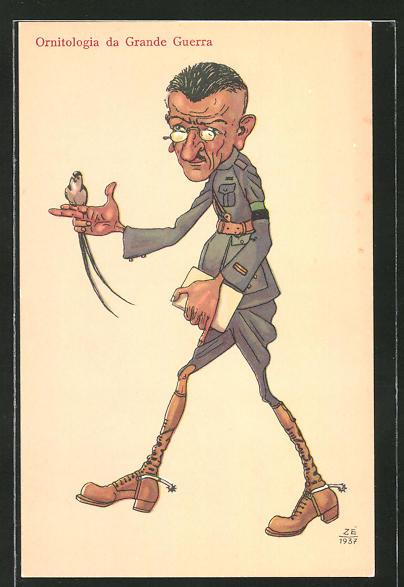 AK Ornitologia da Grande Guerra, Soldat mit Vogel auf der Hand, Karikatur