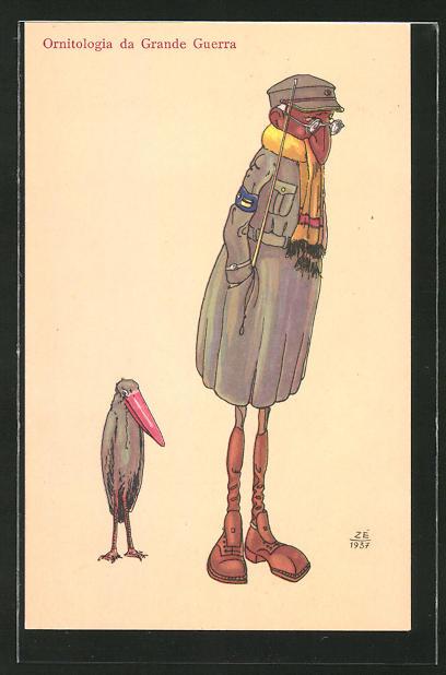 AK Ornitologia da Grande Guerra, Soldat mit langer Nase neben Vogel mit langem Schnabel, Karikatur