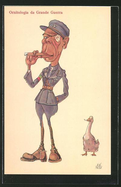 AK Ornitologia da Grande Guerra, Soldat mit Zigarre neben Ente mit Wurm, Karikatur