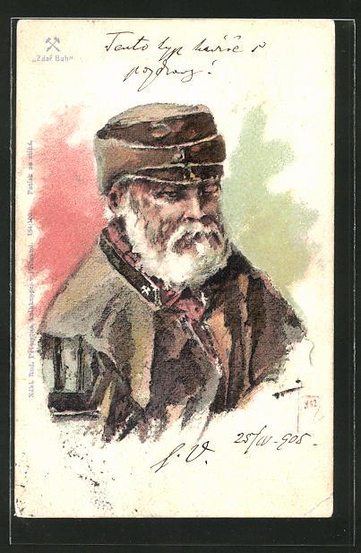 Lithographie Bergbau-Arbeiter mit Mütze und Bart