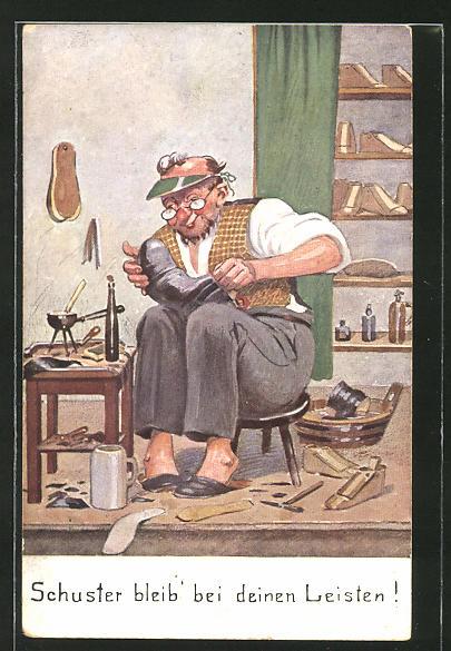 AK Schuhmacher bei der Arbeit in seiner Werkstatt