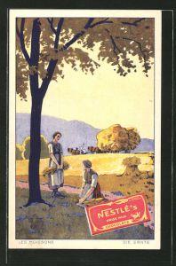 AK Frauen bei der Feldarbeit, Reklame für Nestle's Chocolat au Lait