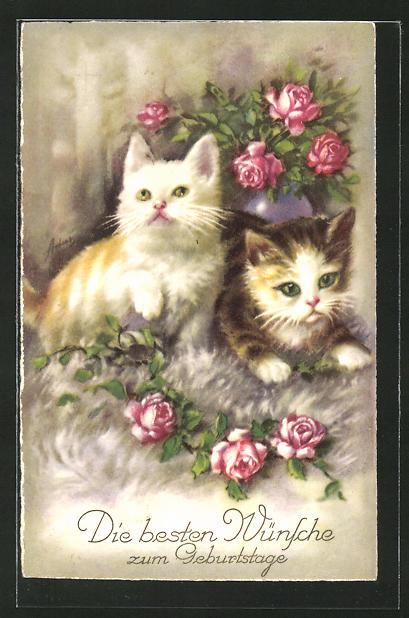 Ak Katzen Mit Rosen Wunschen Alles Gute Zum Geburtstag Nr 8115755